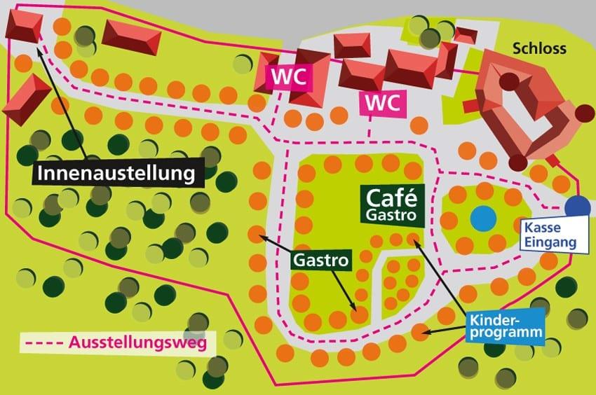 Lageplan Gartenlust Schloss Rüdenhausen