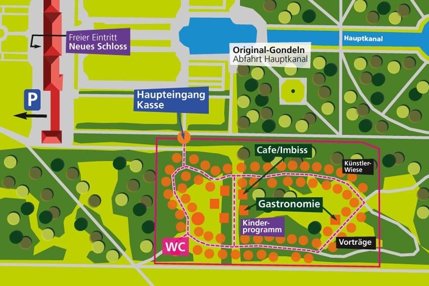 Lageplan Gartenlust Schloss Schleißheim