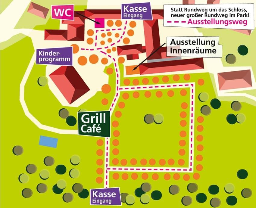 Lageplan Gartenlust Schloss Waal